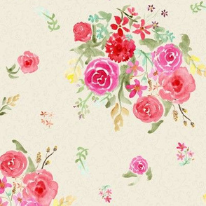 Vintage roses cream and grey