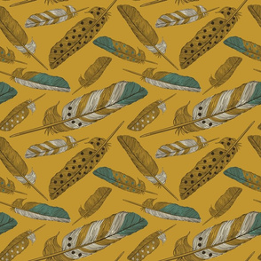 Gold Painted Feather Pattern
