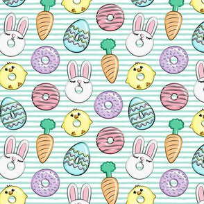 "(1.25"" scale) easter donuts - bunnies, chicks, carrots, eggs - easter fabric - aqua stripes LAD19BS"