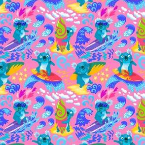 Surfing koalas_pink background