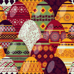 Pysanky eggs red and yellow