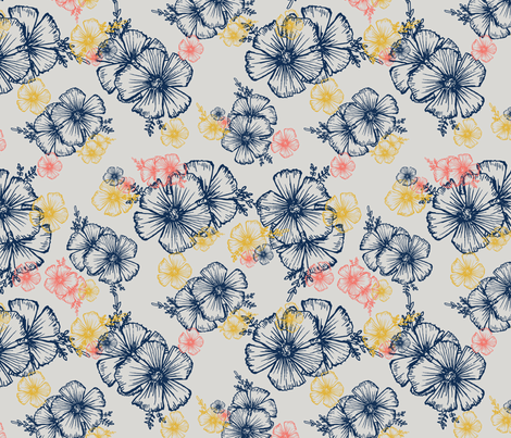 coral cosmos fabric by dicksonme on Spoonflower - custom fabric