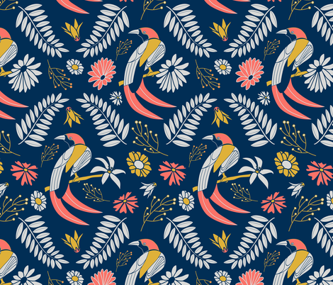 limited palette Birds Blue fabric by kaldreacollections on Spoonflower - custom fabric