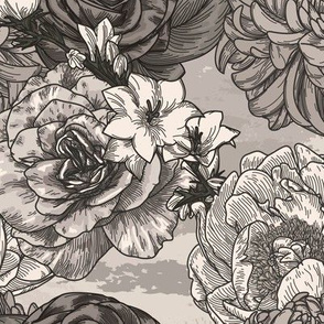 Big Vintage Sepia Floral Pattern