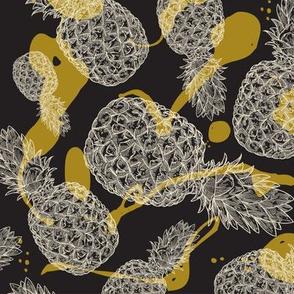 Splashy Pineapple Pattern in Black and Gold
