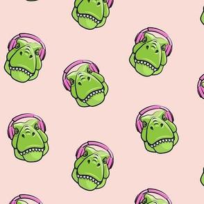 Tyrannosaurus rex with headphones - pink - dinosaur trex LAD19