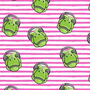 Tyrannosaurus rex with headphones - bright pink stripes - dinosaur trex LAD19