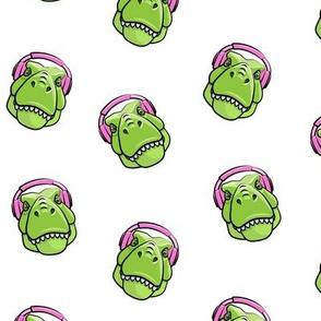 Tyrannosaurus rex with headphones - pink on white - dinosaur trex LAD19