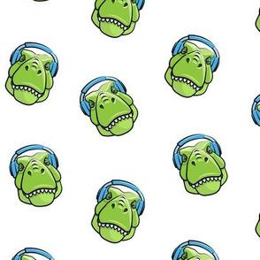 Tyrannosaurus rex with headphones - blue on white - dinosaur trex LAD19