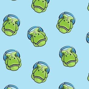 Tyrannosaurus rex with headphones - blue - dinosaur trex LAD19