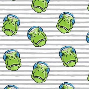 Tyrannosaurus rex with headphones - grey stripes - dinosaur trex LAD19