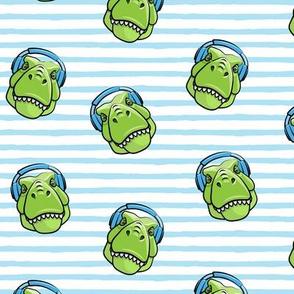 Tyrannosaurus rex with headphones - blue  stripes - dinosaur trex LAD19