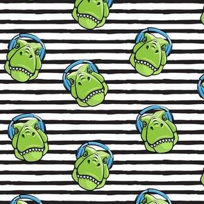 Tyrannosaurus rex with headphones - black stripes - dinosaur trex LAD19