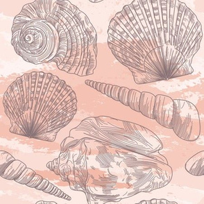 Beachy Peachy Seashell Pattern