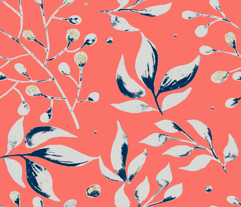 Living Coral Floral fabric by jmk9 on Spoonflower - custom fabric