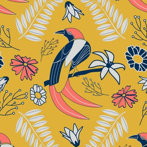 limited palette yellow birds