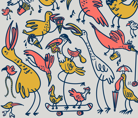 bird city fabric by laurenmarvell on Spoonflower - custom fabric