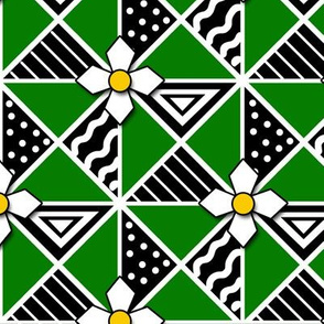 Green and Black Pysanky Triangles