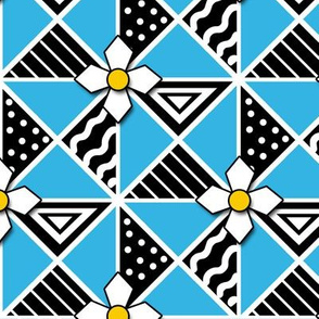 Sky Blue and Black Pysanky Triangles