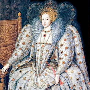 Queen Elizabeth 1 inspired princesses Queens renaissance tudor big lace ruff collar baroque pearls white gown crowns tiaras rubies ruby england mutton sleeves puffy sleeves Britain beauty Elizabethan era 16th century 17th century historical embroidery orn