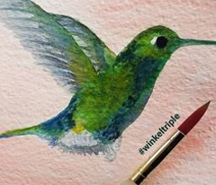 Watercolor Hummingbirds-Coral