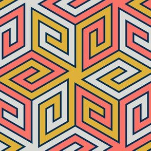08434839 : greek cube : coral + goldenrod
