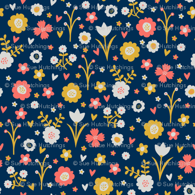 Spring flowers in navy, mustard, grey and coral by dorset studio