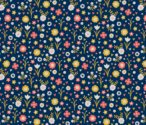 Spring flowers in navy, mustard, grey and coral by dorset studio fabric by dorsetstudio on Spoonflower - custom fabric