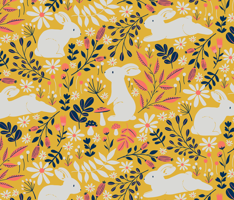 Spring Bunnies - Limited Color Palette fabric by red_raspberry_design on Spoonflower - custom fabric