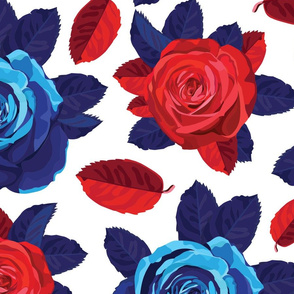 Red & Blue Rose Pattern No.1