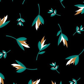 Birds of paradise flowers tropical bikini beach and summer design night black teal