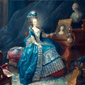 Marie Antoinette inspired princesses queens white blue big gowns lace baroque victorian beautiful lady woman beauty pouf Bouffant castle carpet lute guitar royalty castle palace bows portraits ballgowns flowers floral rococo  roses elegant gothic lolita e
