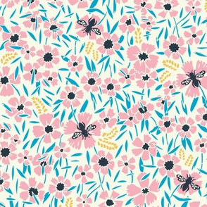 Wasps in meadow / pink & blue