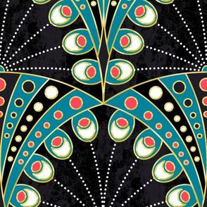 Art Deco Peacock Feathers custom white dot
