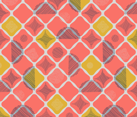 Strolling Along in Coral fabric by wildnotions on Spoonflower - custom fabric