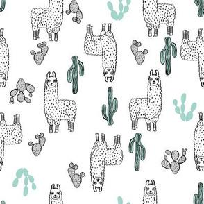 llama fabric // cute llama, cactus, nursery, baby, trendy animals, andrea lauren design fabric - white non-directional print