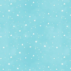 White Stars on Turquoise Watercolor