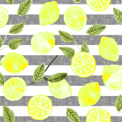 Lemons Only - Grey Striped- Watercolor