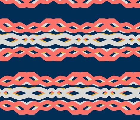 2019 pantone coral - lattice links - macro fabric by aubergine_designs on Spoonflower - custom fabric