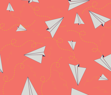 Paper Airplanes in Flight_coral fabric by kfrogb on Spoonflower - custom fabric