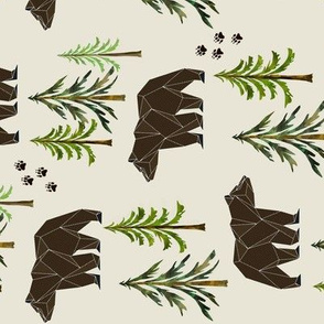 Woodland Bears - Pine Trees Forest Bear Tracks Nursery Kids Camping ROTATED