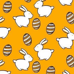 Easter Bunnies & Eggs - Yellow