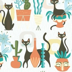 modern cats and plants in white