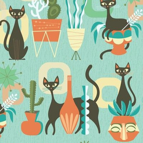 modern cats and plants in teal