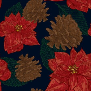 Poinsettias and Pinecones Pattern