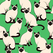 Siamese Cats on Green