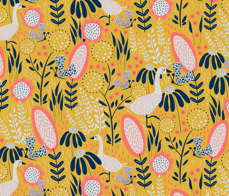 Butterfly & the Goose fabric by melarmstrongdesign on Spoonflower - custom fabric