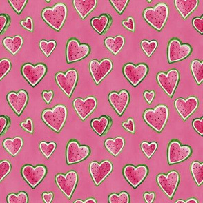 watermelon hearts pink background