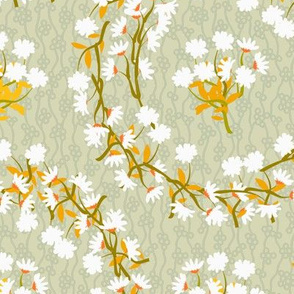 White Daisy Wreaths with Gold Leaves on Pale Green