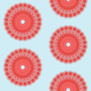 dot circles jagged - coral back blue